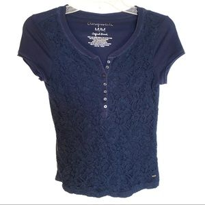 Aeropostale Navy Short Sleeve Lace Top Size M